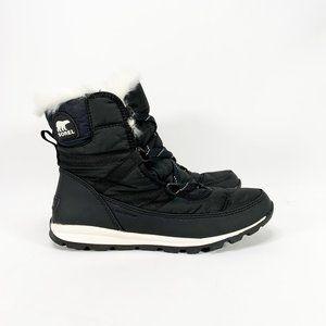 SOREL Women's Whitney Short Lace Boot Black White